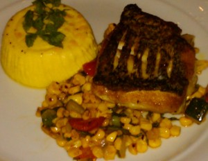 grilled sea bass with corn succotash and corn panna cotta