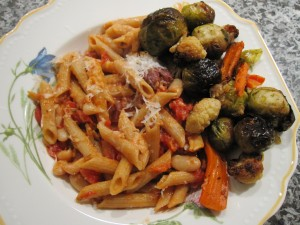 Penne with beans and roasted vegetables