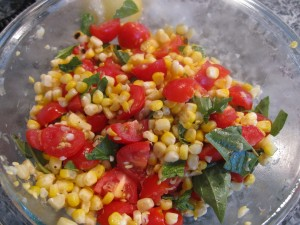 Grilled Corn, Tomato, and Basil Salad