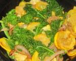 Sauteéd squash, onions, string beans, and kale